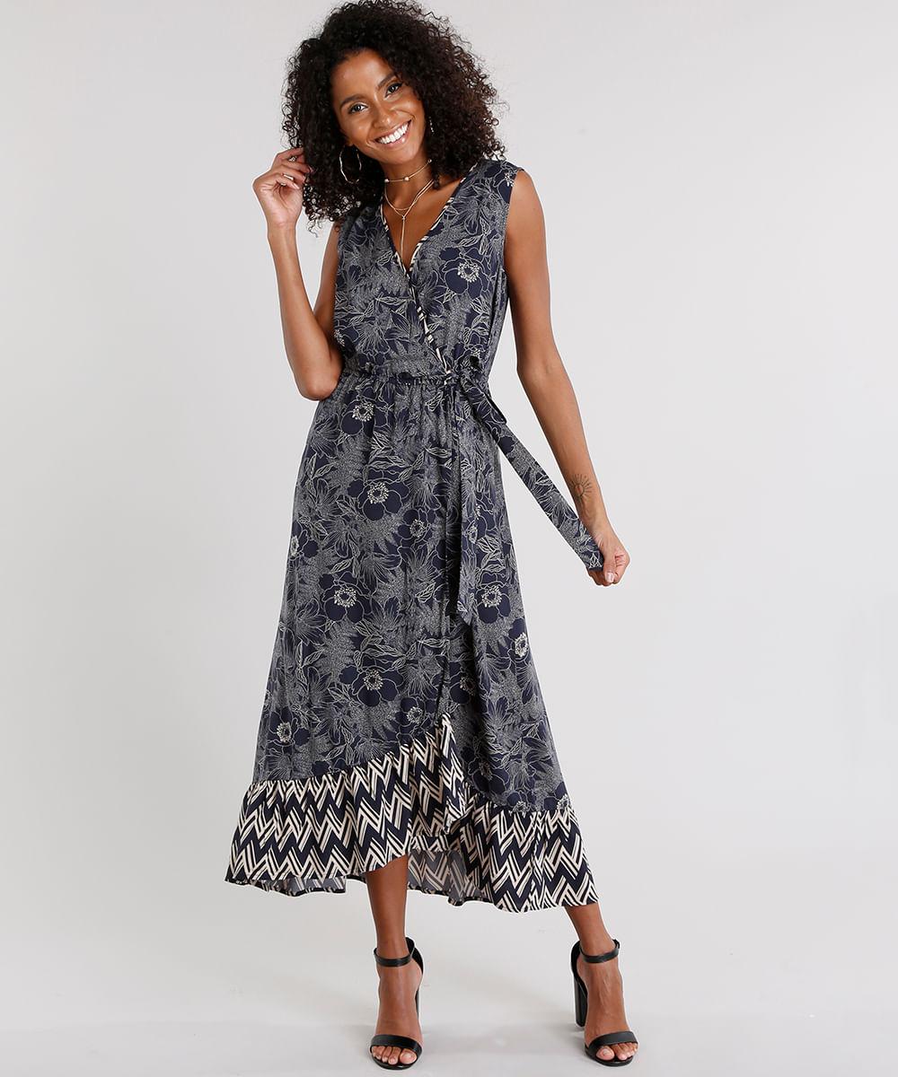 9ad32ae5b3 Vestido Feminino Longo Transpassado Estampado Floral Decote V Azul Marinho