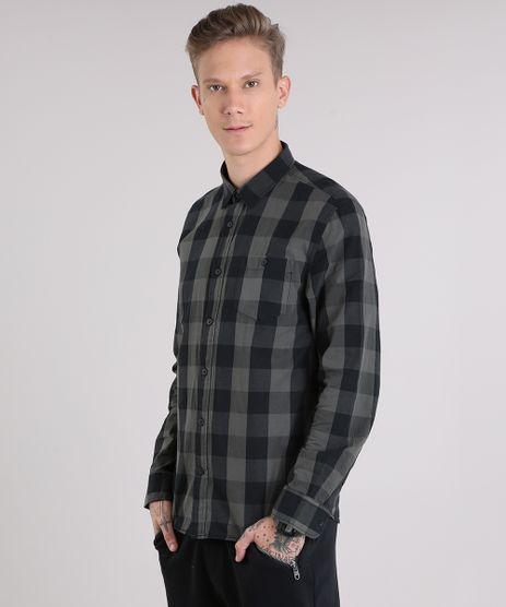 Camisa-Masculina-Xadrez-com-Bolso-Manga-Longa-Chumbo-8448777-Chumbo_1