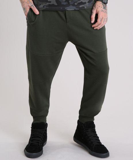 Calca-Masculina-Jogger-em-Moletom-com-Bolsos-e-Ziper-Verde-Militar-8834566-Verde_Militar_1