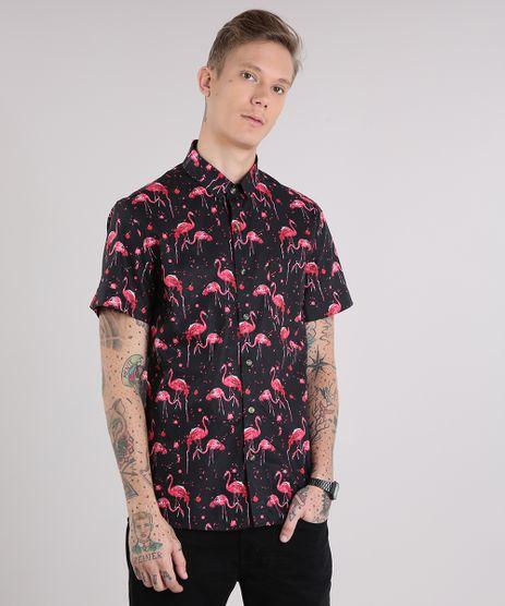 Camisa-Masculina-Estampada-de-Flamingos-com-Bolso-Manga-Curta-Preta-9109821-Preto_1