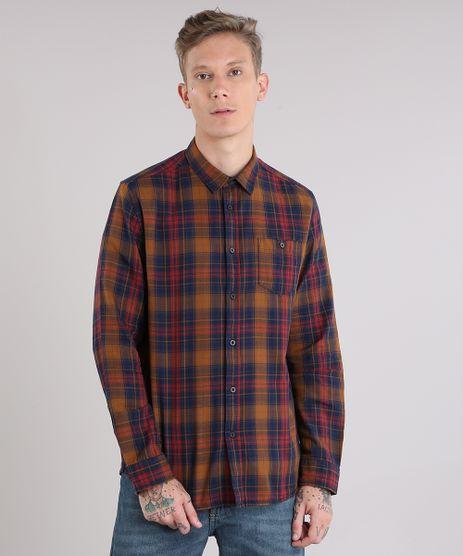 Camisa-Masculina-Xadrez-com-Bolso-Manga-Longa-Caramelo-8886528-Caramelo_1