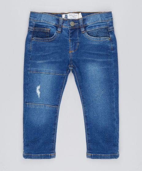 Calca-Jeans-Infantil-com-Recortes-em-Algodao---Sustentavel-Azul-Escuro-9156722-Azul_Escuro_1