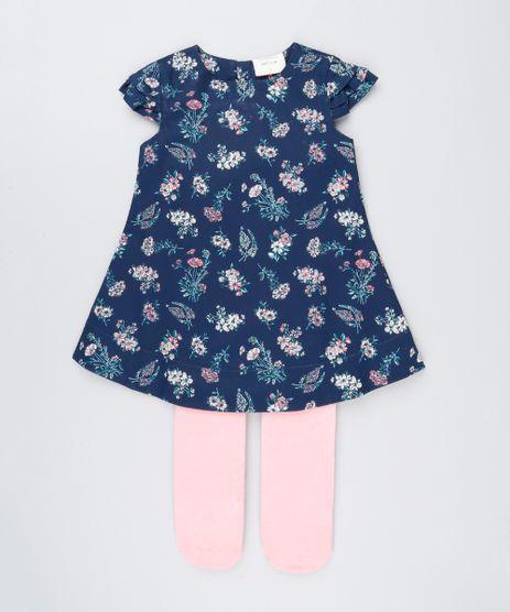 Vestido-Infantil-Estampado-Floral-Manga-Curta-Decote-Redondo---Meia-Calca-Azul-Marinho-8877307-Azul_Marinho_1