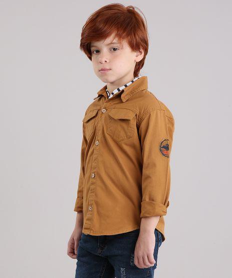 Camisa-Infantil-com-Bolsos-Manga-Longa-em-Algodao---Sustentavel-Caramelo-9178524-Caramelo_1