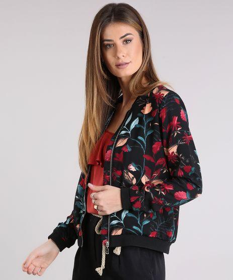 Jaqueta-Feminina-Bomber-Estampada-Floral-com-Bolso-Preta-8934165-Preto_1