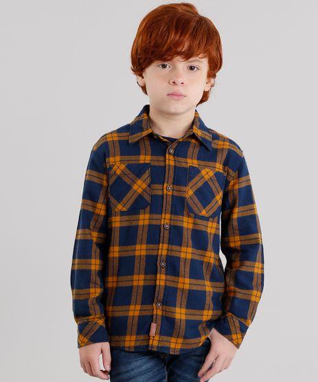 Camisa-Infantil-Xadrez-em-Flanela-Manga-Longa-com-Bolsos-Azul-Marinho-8853266-Azul_Marinho_1