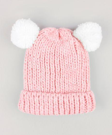 Gorro-Infantil-em-Trico-com-Pompons-e-Forro-em-Fleece-Rosa-8868227-Rosa_1