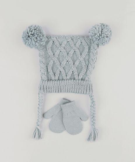 Kit-de-Gorro-Infantil-em-Trico-com-Pompons---Luva-Cinza-8868151-Cinza_1