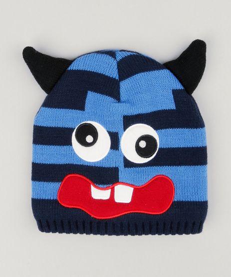 Gorro-Infantil-Monstrinho-com-Orelhas-Listrado-e-Forro-em-Fleece-Azul-8868166-Azul_1