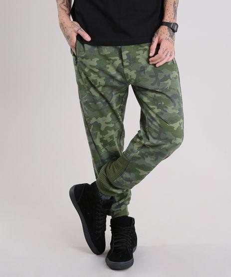 Calca-Masculina-Jogger-em-Moletom-Estampada-Camuflada-com-Bolsos-e-Ziper-Verde-Militar-8834554-Verde_Militar_1