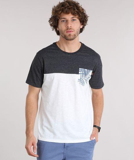 Camiseta-Masculina-Manga-Curta-Gola-Careca-com-Bolso-Estampado-de-Folhagem-Off-White-9125862-Off_White_1