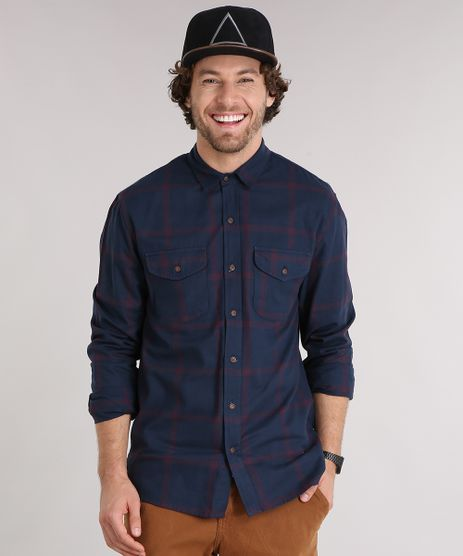 Camisa-Masculina-Xadrez-Manga-Longa-com-Bolsos--Azul-Marinho-9117427-Azul_Marinho_1