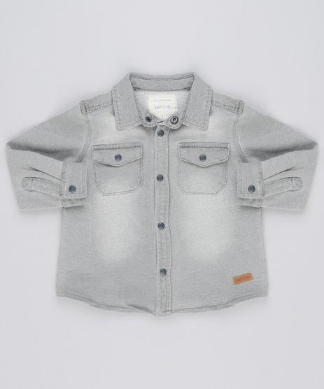 Camisa-Jeans-Infantil-em-Moletom-Manga-Longa-com-Bolso-Cinza-Claro-8870171-Cinza_Claro_1