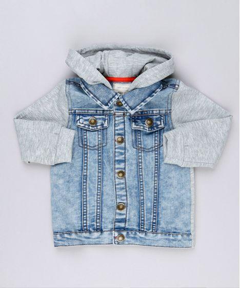 2f2b3b7841234 Jaqueta Jeans Infantil com Moletom e Capuz Manga Longa Azul Claro - cea