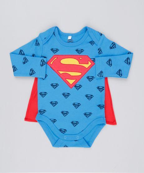Body-Infantil-Super-Homem-Estampado-com-Capa-Manga-Longa-Decote-Redondo-em-Algodao---Sustentavel-Azul-8928704-Azul_1