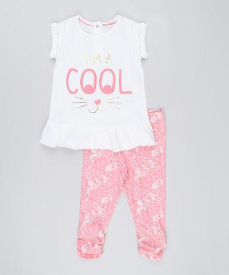 Conjunto-Infantil-de-Manga-Curta-com-Babados-e-Lacos-Off-White---Calca-Legging-Estampada-Floral-em-Algodao---Sustentavel-Rosa-8917140-Rosa_1