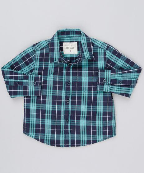 Camisa-Infantil-Xadrez-Manga-Longa-com-Bolso-Verde-8854764-Verde_1