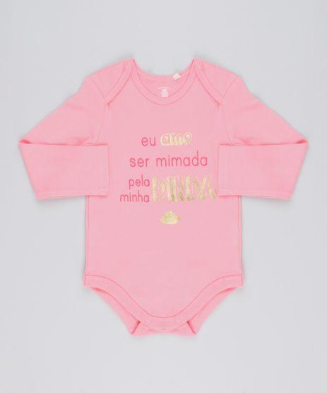 Body-Infantil--Eu-Amo-Ser-Mimada-Pela-Minha-Dinda--em-Manga-Longa-com-Decote-Redondo-em-Algodao---Sustentavel-Rosa-8920971-Rosa_1