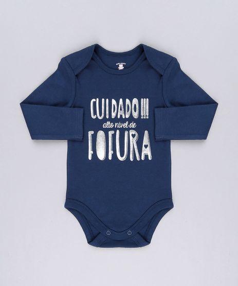 Body-Infantil--Cuidado----Alto-Nivel-de-Fofura--em-Manga-Curta-com-Decote-Redondo-em-Algodao---Sustentavel-Azul-Marinho-8921661-Azul_Marinho_1