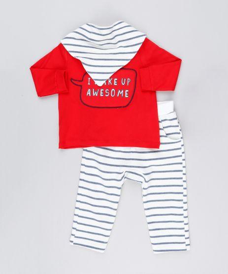 Conjunto-Infantil-de-Camiseta-Manga-Longa-Vermelha---Calca-Listrada-em-Moletom---Babador-em-Algodao---Sustentavel-Off-White-8909651-Off_White_1