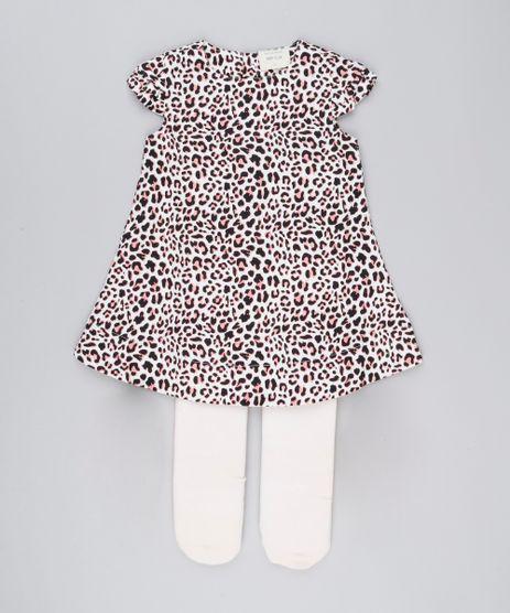 Vestido-Infantil-Estampado-Animal-Print-Manga-Curta-Decote-Redondo---Meia-Calca-Bege-8877295-Bege_1