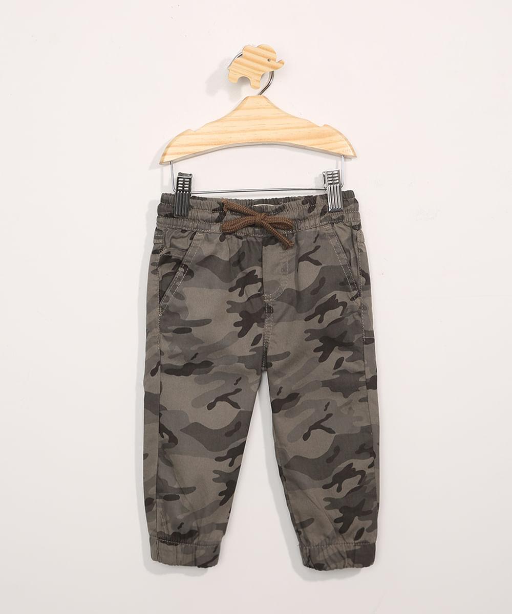 Calça de Sarja Infantil Jogger Camuflada Verde Militar