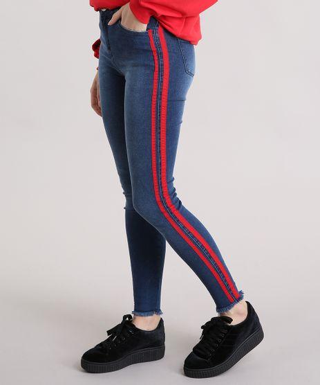 Calca-Jeans-Feminina-Super-Skinny-Cintura-Alta-com-Faixas-Laterais-Azul-Escura-9201970-Azul_Escura_1