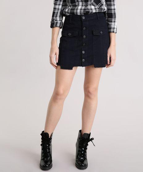 Saia-Jeans-Feminina-com-Botoes-Barra-Desfiada-Curta-Azul-Escura-9195862-Azul_Escura_1