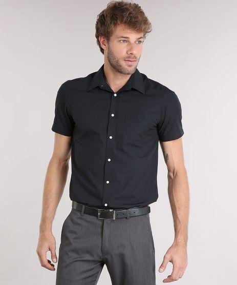 Camisa-Masculina-Comfort-Manga-Curta-com-Bolso-Preta-7602490-Preto_1