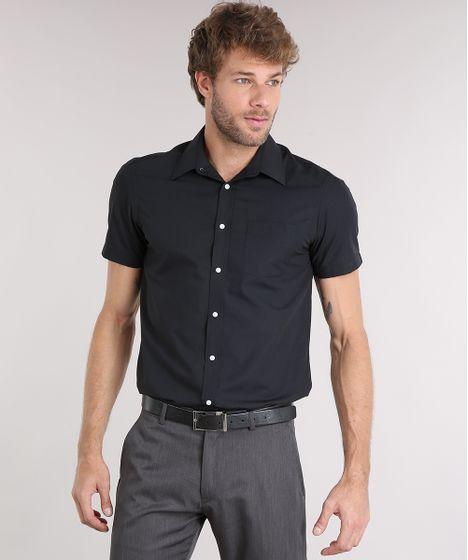 6e5ea24d9 Camisa Masculina Comfort Manga Curta com Bolso Preta - cea