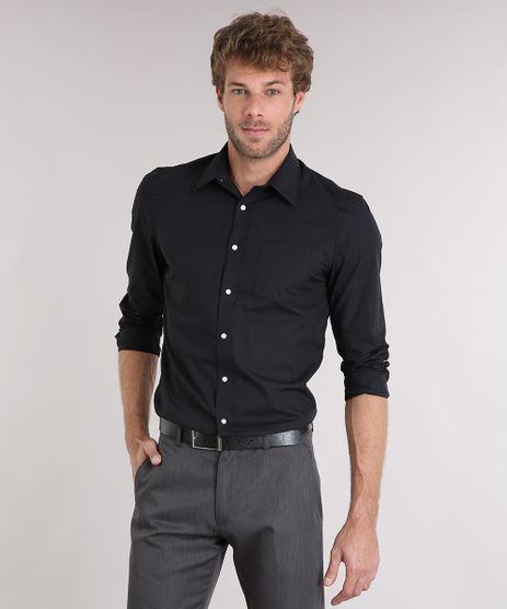 Camisa-Masculina-Comfort-Manga-Longa-com-Bolso-Preta-7591834-Preto_1