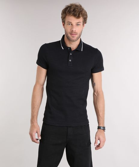 Polo-Masculina-Slim-Fit-em-Malha-Texturizada-Manga-Curta-Preta-9114976-Preto_1