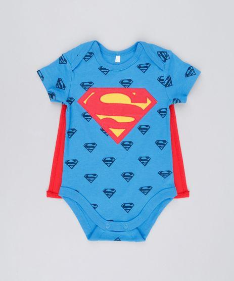 Body-Infantil-Super-Homem-Estampado-com-Capa-Manga-Curta-Decote-Redondo-em-Algodao---Sustentavel-Azul-8928774-Azul_1