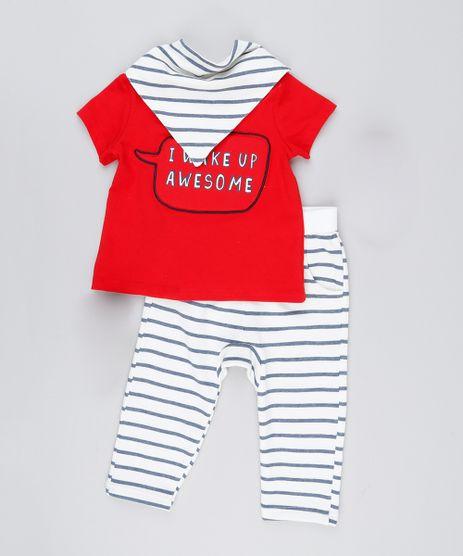 Conjunto-Infantil-de-Camiseta-Manga-Curta-Vermelha---Calca-Listrada-em-Moletom---Babador-em-Algodao---Sustentavel-Off-White-8908951-Off_White_1