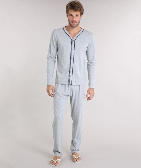 44bd8baa77 Pijama Masculino Gola V com Botões Manga Longa Cinza Mescla Claro - cea
