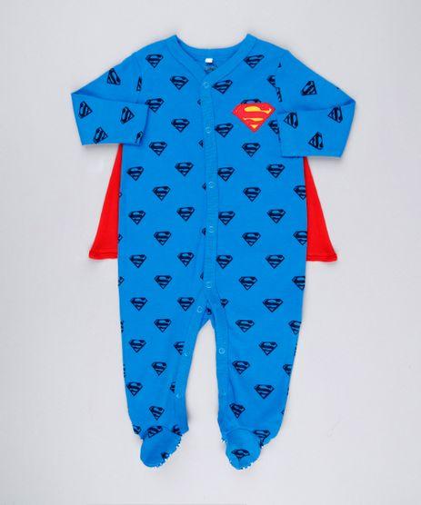 Macacao-Infantil-Super-Homem-Estampado-com-Capa-Removivel-em-Algodao---Sustentavel-Azul-8928646-Azul_1