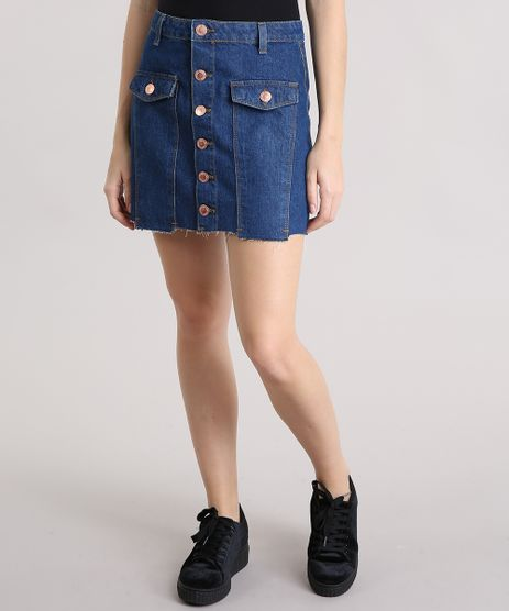 Saia-Jeans-Feminina-com-Botoes-Barra-Desfiada-Curta-Azul-Escura-9195861-Azul_Escura_1
