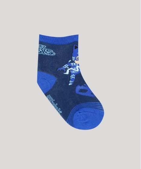 Meia Infantil PJ Masks Cano Médio Azul Escura - cea a672a42cfc4