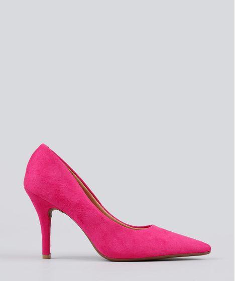d86542f4ef Scarpin Feminino Bico Fino Vizzano em Suede Salto Fino Pink - cea