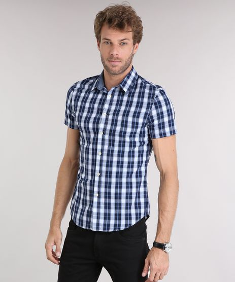 Camisa-Masculina-Slim-Xadrez-Manga-Curta-Azul-Marinho-8894604-Azul_Marinho_1