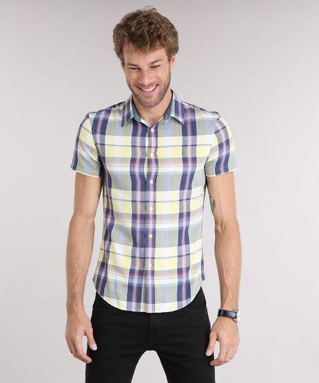 Camisa-Masculina-Slim-Xadrez-Manga-Curta-Amarelo-Claro-8894567-Amarelo_Claro_1