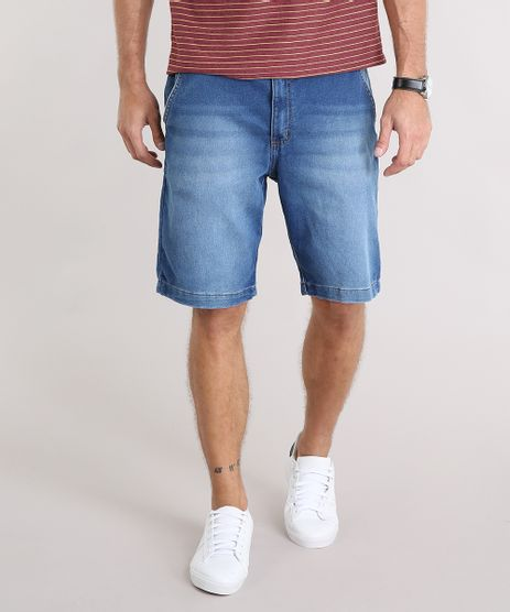 Bermuda-Jeans-Masculina-Reta-com-Cordao-e-Bolsos-Azul-Medio-9130931-Azul_Medio_1