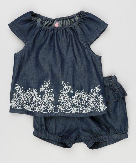 Conjunto-Infantil-Jeans-de-Blusa-com-Bordado-Manga-Curta---Short-com-Babados-Azul-Escuro-8920773-Azul_Escuro_1