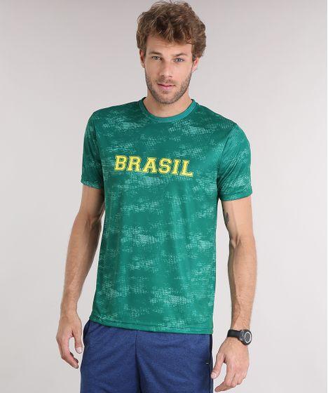 Camiseta Masculina Brasil Esportiva Ace Manga Curta Gola Careca ... 61049b8e04e