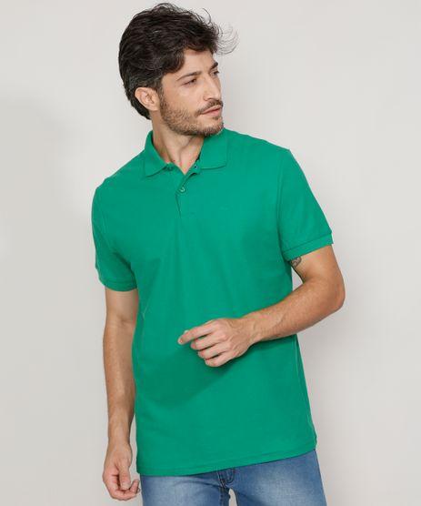Polo-de-Piquet-Masculina-Basica-Comfort-Manga-Curta-Verde-9449829-Verde_1