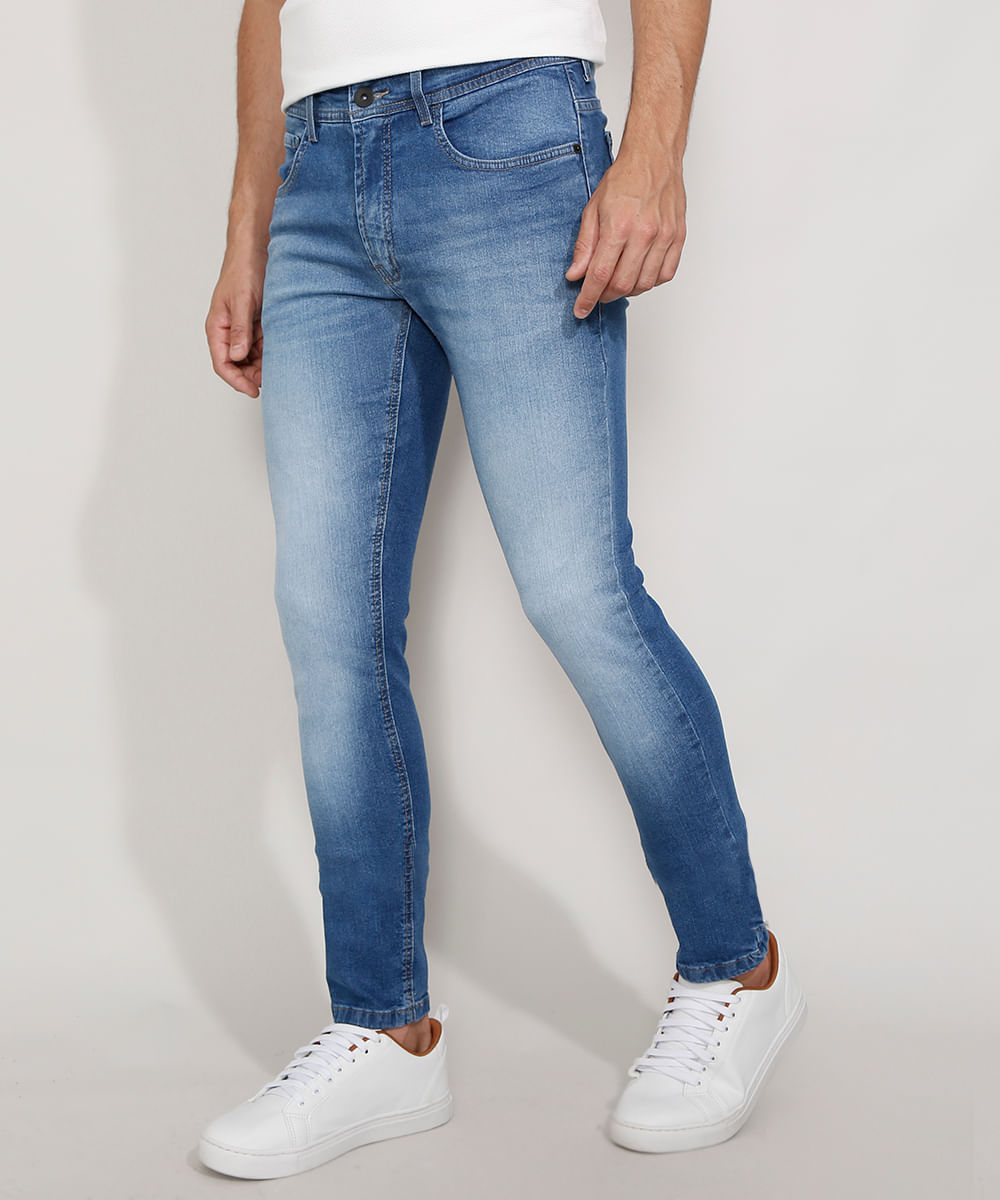 Calça Jeans Masculina Skinny Azul Médio