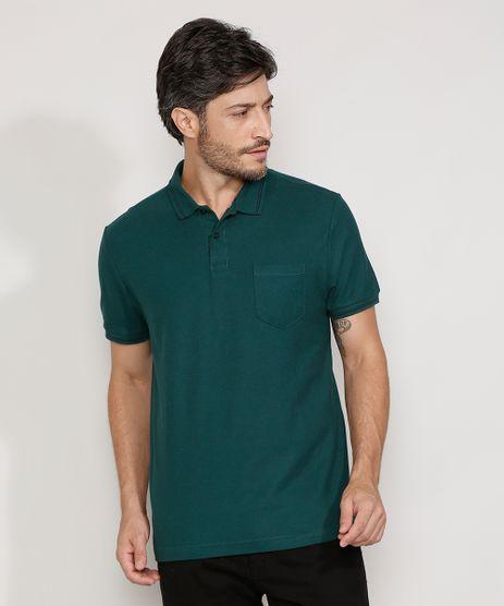 Polo-de-Piquet-Masculina-Basica-Comfort-Manga-Curta-Verde-Escuro-1-9536088-Verde_Escuro_1_1