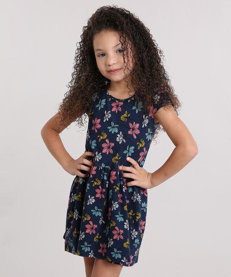 Vestido-Infantil-Estampado-Floral-Manga-Curta-Curto-em-Algodao---Sustentavel-Azul-Marinho-9137997-Azul_Marinho_1