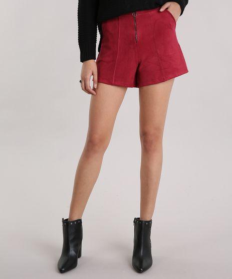 Short-Feminino-em-Suede-com-Ziper-Cintura-Alta-Frontal-e-Bolsos-Vinho-9163259-Vinho_1