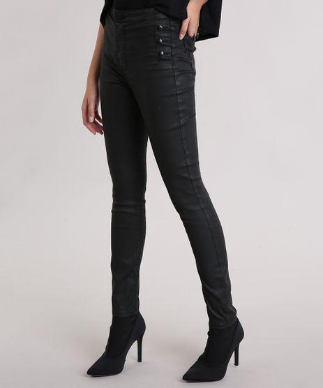 Calca-Feminina-Super-Skinny-Resinada-com-Botoes-Preta-9113403-Preto_1